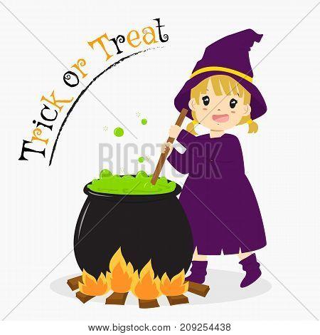 cute witch stirring green potion in a cauldron. Halloween cartoon vector