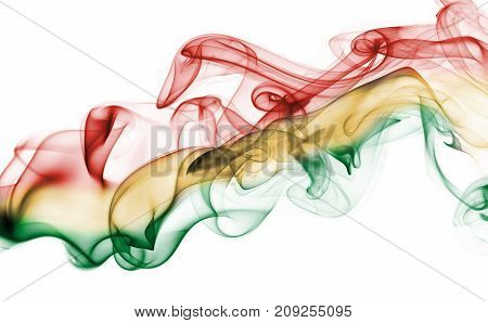 Bolivia smoke flag isolated on a white background
