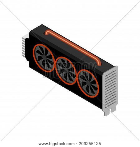 Mining Video Card. Miner Of Gpu. Technology Extraction Crypto Currency. Virtual Money. Vector Illust