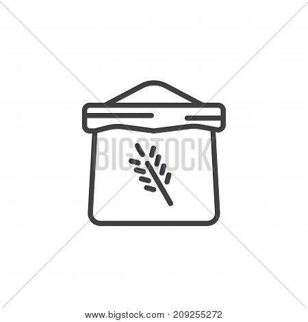 Bag of flour line icon, outline vector sign, linear style pictogram isolated on white. Symbol, logo illustration. Editable stroke