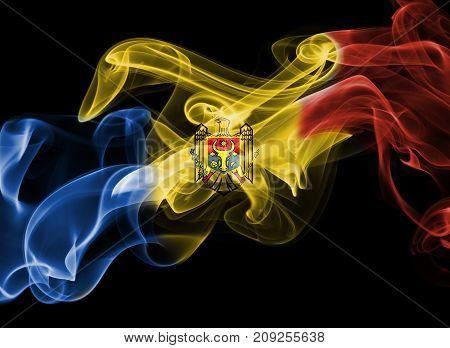 Moldova smoke flag isolated on black background