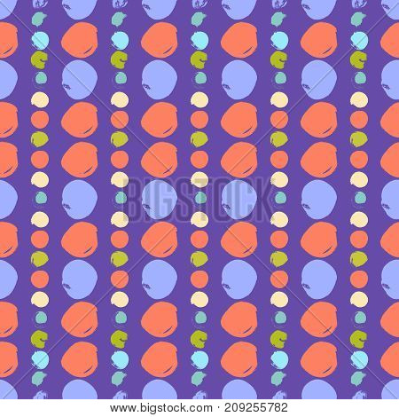 Vector seamless pattern with circles brush strokes. Colorful doodle background. Abstract hand drawn design. Good for web, print and wrapping paper.