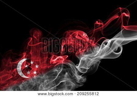 Singapore smoke flag isolated on black background