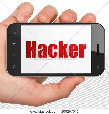 Protection concept: Hand Holding Smartphone with red text Hacker on display, 3D rendering