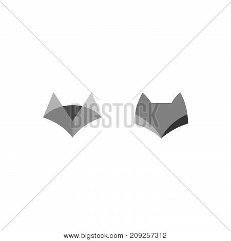 Negative Space logo with Sitting Fox. black Fox Silhouette. Fox Icon. Fox Symbol. Fox Sign Isolated on White Background. Cute Animal Illustration.