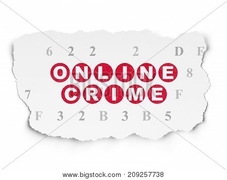 Privacy concept: Painted red text Online Crime on Torn Paper background with  Hexadecimal Code