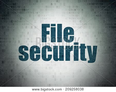 Protection concept: Painted blue word File Security on Digital Data Paper background