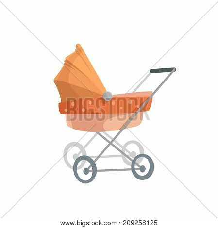 Cartoon trendy design baby bed pram. Child transportation retro vector illustration.