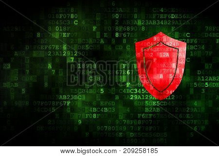 Security concept: pixelated Shield icon on digital background, empty copyspace for card, text, advertising