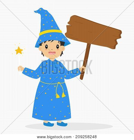 Halloween cartoon vector. a boy wearing wizard costume and holding a magic wand for Halloween party, holding an empty wooden sign