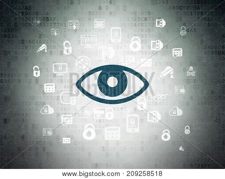 Protection concept: Painted blue Eye icon on Digital Data Paper background with  Hand Drawn Security Icons