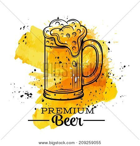 Poster beer mugs on a yellow watercolor splash. Vector illustration in old ink sketch style.