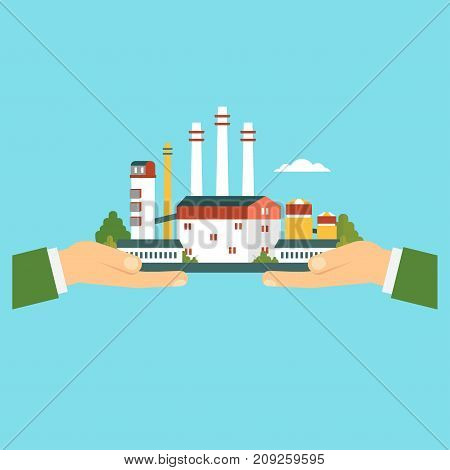 Green factory vector concept. Hand holding eco plant. Flat vector cartoon illustration. Objects isolated on white background.