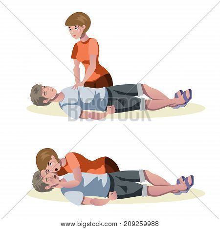 Emergency first aid resuscitation procedures. Vector illustration