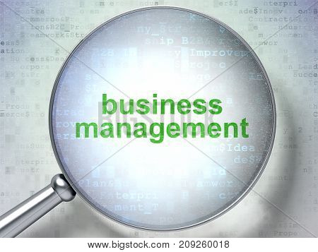 Finance concept: magnifying optical glass with words Business Management on digital background, 3D rendering