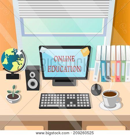 Education online or elearning theme design vector illustration