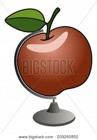 Stock vector red apple globe on white background