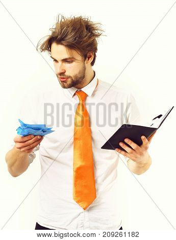 Macho In Acid Tie Holding Black Notebook With Blue Stickers