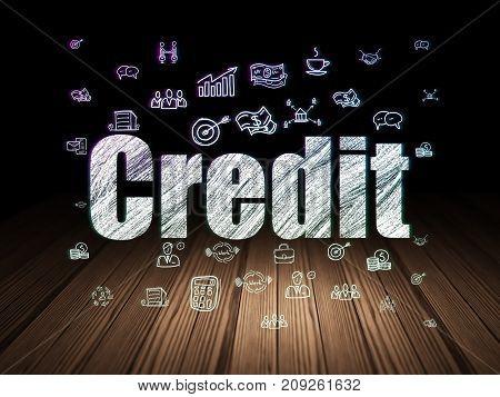 Finance concept: Glowing text Credit,  Hand Drawn Business Icons in grunge dark room with Wooden Floor, black background