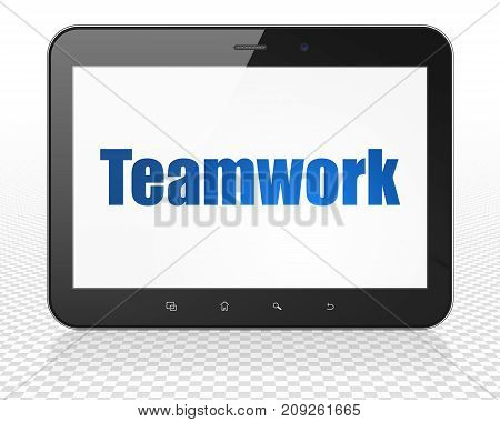 Business concept: Tablet Pc Computer with blue text Teamwork on display, 3D rendering