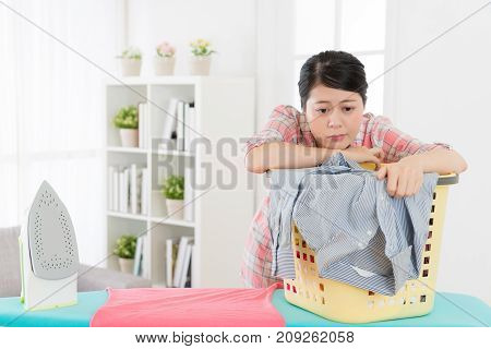 Beauty Housewife Leaning On Clothing Basket