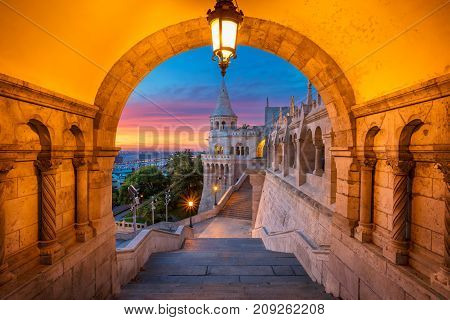 Fisherman's Bastion, Budapest. Cityscape image of the Fisherman's Bastion in Budapest, capital city of Hungary, during sunrise.