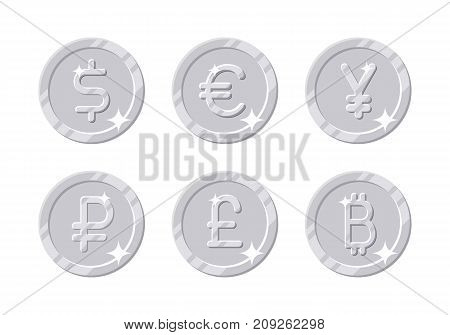 Silver coins different currency. Six symbols with dollar, euro, yen, ruble, pound, bitcoin sign in cartoon style for business, finance, exchange money theme. Vector illustration isolated on white