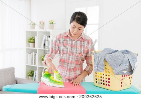 Beautiful Elegant Housewife Ironing Clothing