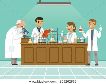 Professional chemists in their laboratory makes different experiments on the table. Male and female medical workers. Chemistry science education in laboratory, research and experiment