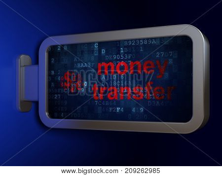 Finance concept: Money Transfer and Finance Symbol on advertising billboard background, 3D rendering