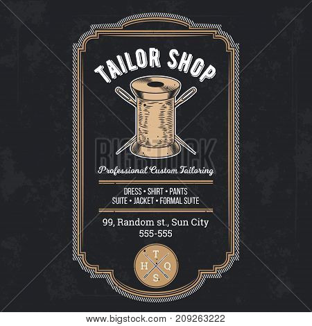 Tailor shop emblem or signage with logo and business information vector illustration in retro style. Custom, individual sewing handiwork small business brand sticker, label or badge design template