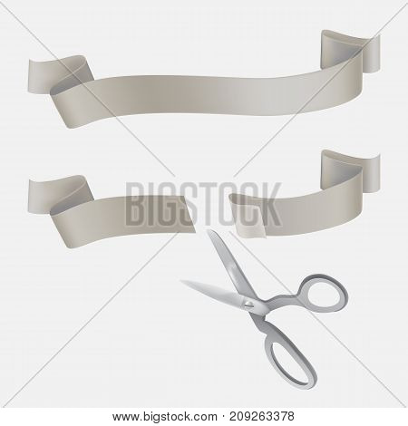 Whole and cut with scissors on two pieces gray silk or satin ribbon realistic vector illustration isolated on white background. Grand opening, start-up beginning, event celebrating design element