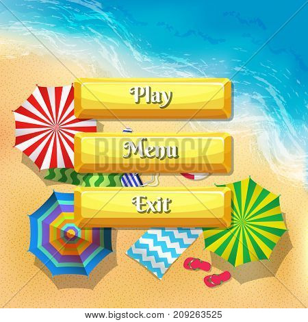 Vector cartoon style buttons with text for game design on beach umbrellas top view background. Set of button play and exit menu design illustration