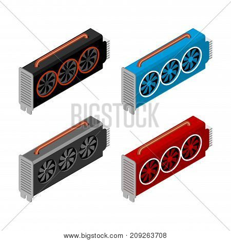 Mining Video Card Set. Miner Of Gpu. Technology Extraction Crypto Currency. Virtual Money. Vector Il