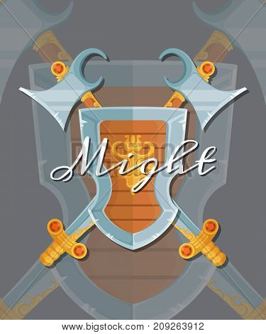 Vector fantasy cartoon style game design medieval crossed shield, axe and sword elements with lettering and shadows. Medieval shield and axe illustration