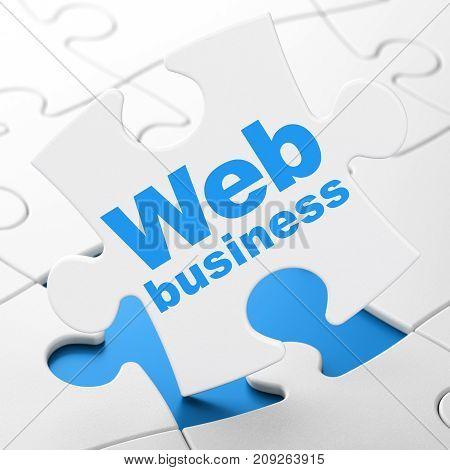 Web design concept: Web Business on White puzzle pieces background, 3D rendering