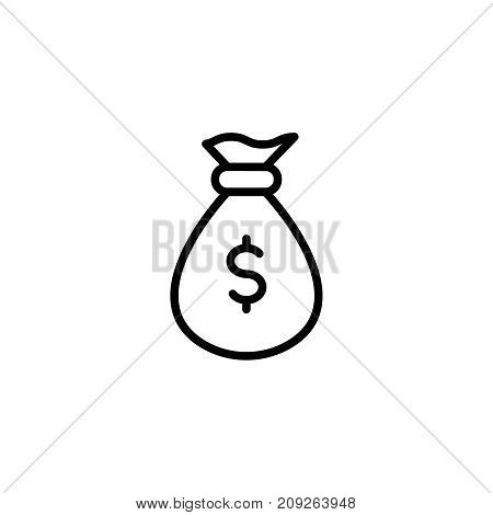 Money bag flat icon. Single high quality outline symbol of happy birthday for web design or mobile app. Thin line signs of holiday for design logo, visit card, etc. Outline logo of celebration