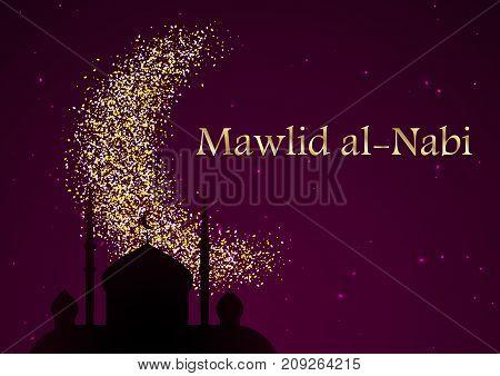 Mawlid Al Nabi. Translation: Prophet Muhammad's Birthday. Greeting Card For Islamic Holiday. Vector