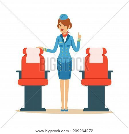 Stewardess character in blue uniform serving passengers on the airplane, flight attendant on airplane vector Illustration on a white background
