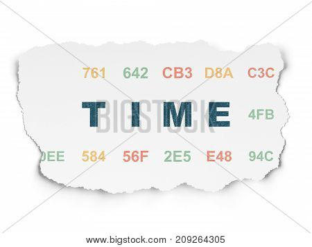 Timeline concept: Painted blue text Time on Torn Paper background with  Hexadecimal Code
