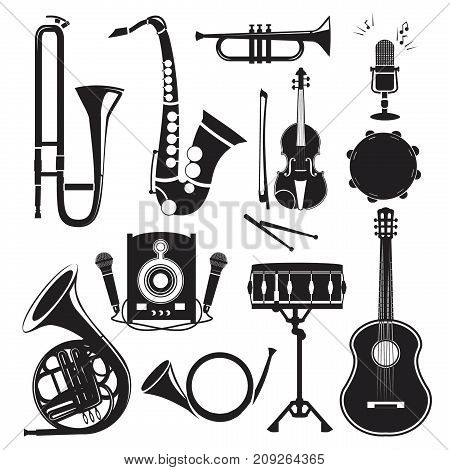 Different monochrome pictures of musical instruments isolated on white. Vector pictures set of musical instrument drum and trumpet, saxophone and violin illustration