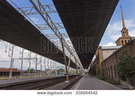 YEREVAN, ARMENIA - SEPTEMBER 29,2017 :An old train station and platform rail station in Yerevan,Armenia.