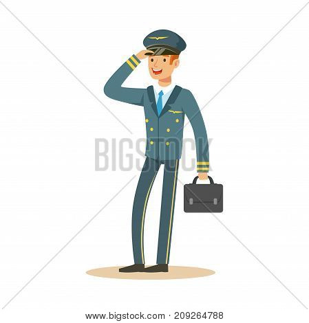 Smiling airline pilot character in blue uniform wuth briefcase, aircraft captain vector Illustration on a white background