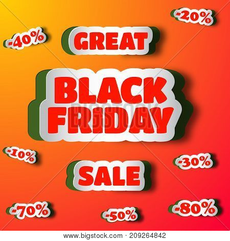 Great sale on black friday design concept with set of cut paper stickers with percentage content from 10 til 80 flat vector illustration