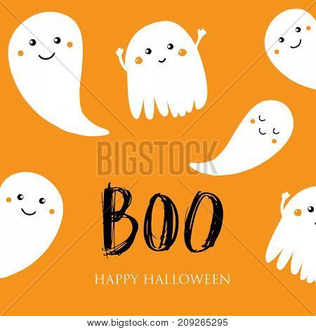Cute halloween invitation or greeting card. Small smiling ghosts and text Boo. Can be used for wallpaper, greeting cards, invitation, textile patterns, web page background, surface textures.