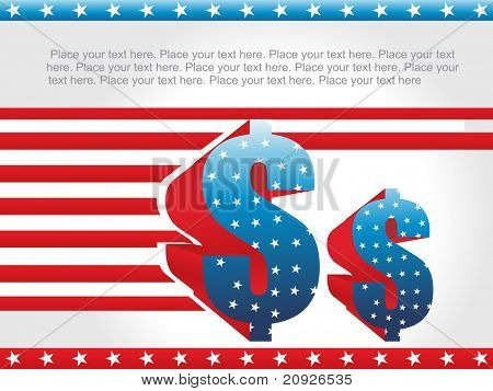 abstract us background with star and currency symbol