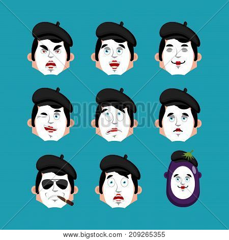 Mime Face Set. Sleeping And Evil Emotion Avatar. Bewildered And Sad Pantomime Emoji. Mimic Fear And