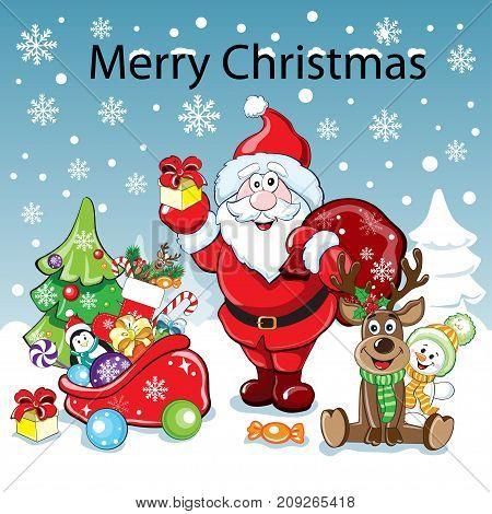 Christmas deer and Santa Claus and christmas elements. Christmas card
