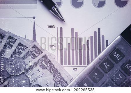 pen calculator money graph stock concept for business finance.