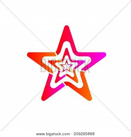 Gradient red and pink star isolated on white background. Element design for logo business icon. Sign of quality winning coaching. - Stock vector